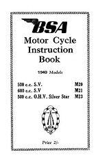 1940 BSA 20 M21 M23 instruction book
