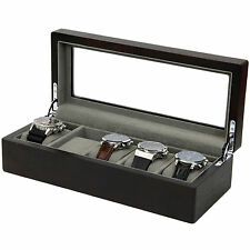Watch Box 5 Watches Large Compartments Extra Clearance Glass Top TS6100ES
