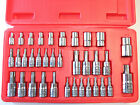 "35pc 1/4"", 3/8"" & 1/2"" Dr. Star/torx tamper-proof e socket Bit set male, female"