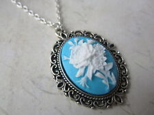 Victorian Vintage Silver Plated White Blue Flower Cameo Necklace New in Gift Bag