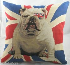 "18"" Union Jack Bulldog Winston Flag Woven Tapestry Cushion Evans Lichfield"