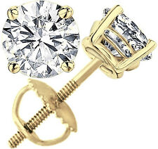 4 ct Round Cut Solitaire Stud Earrings in Solid 14k Real Yellow Gold Screw Back
