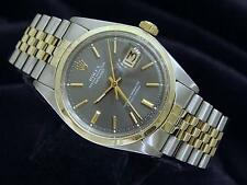 Rolex Datejust Mens 2Tone 14K Gold Stainless Steel Watch Jubilee Slate Gray 1601