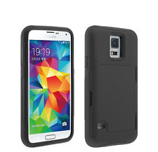 Credit Card ID Holder Phone Case Hard Soft Hybrid Cover for Galaxy S 6 - Black