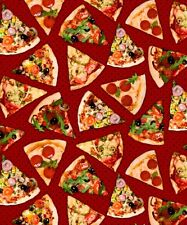 Fat Quarter Take Out Pizza Slices Food 100% Cotton Quilting Fabric