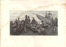Stampa antica NAPOLI Corso V. Emanuele con figure carrozze carabiniere 1880