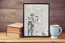 Banksy Stop & Search Wizard Of Oz Upcycled Vintage Dictionary Page Art Print A4