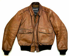 Schott a-2 vintage aviador aviator pilotos chaqueta de cuero marrón talla 52