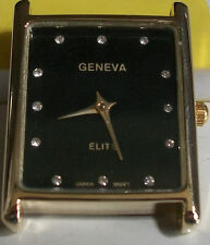 Gold finish square black face men's watch face movement  for watches