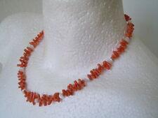 Alte Korallen Lachskoralle Kette mit runden Perlmutt Würfeln 24,9 g/ 45 cm
