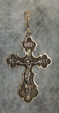 Orthodox Cross Pendant, Crucifix Oxidized Sterling Silver,3 bar,IS XS,Design #27