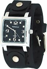 Nemesis NE240K Men's Black Wide Leather Cuff Band Square Black Dial Watch