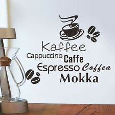 Coffee Kaffe Vinyl Wall Art Sticker Quote Wall Stickers  Kitchen Wall Home Mural