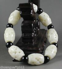 Chinese natural jade stretchy bracelet with hand-carved beads,beautiful bangle