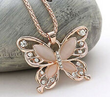 NT Womens Lady Rose Gold Opal Butterfly Crystal Pendant Necklace Sweater Chain