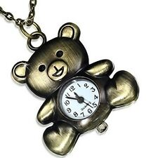 Fashion Stainless Steel Gold-Tone Teddy Bear Pocket Watch Pendant Necklace