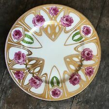 Antique CA Limoges Art Nouveau Hand Painted Pink Rose Dinner Plate Gold Cabinet