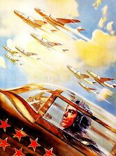 PAINTINGS WAR MILITARY AIR FORCE SOVIET RED ARMY STAR BOMBER JET PRINT LV3488