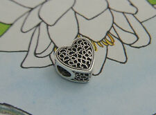 AUTHENTIC PANDORA SILVER BEAD CHARM #791811 Filled With Romance HEART LOVE