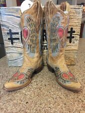 Women's Corral A1976 Antique Saddle Leather Cowboy Boot Blue Jean Wing & Heart