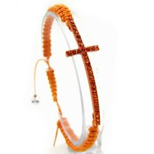 Orange Sideways Side Cross Bracelet Macrame Adjustable Single Lace Band Designer