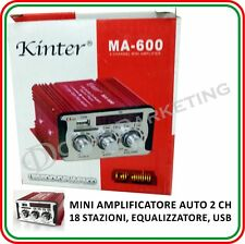 MINI AMPLIFICATORE AUTO STEREO 2CH USB SD MP3 TELECOMANDO PER AUTOMOBILI