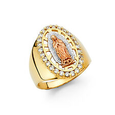 EJRG1402 - Solid 14K tricolor gold Guadalupe ring with CZ accents