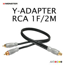 Monster THX Y-Adapter Audio 1 Female to 2 Male RCA Cable 1F/2M Subwoofer Cable