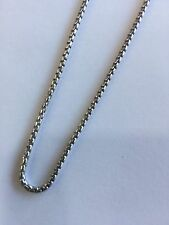 24 Inches Mens Ladies White Gold GP 925 Sterling Silver Box Franco Italy Chain