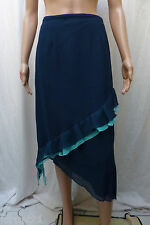 Ladies Asymmetrical Frill Skirt  - Size 14 - Blue Chiffon by KALEIDOSCOPE