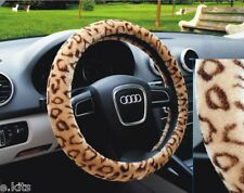 "Fuzzy Auto Van Car Suv Antislip Soft Plush Steering Wheel Cover 15""LEOPARD Tan"
