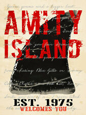 AMITY ISLAND - FINE ART PRINT POSTER 13x19 - JAWS MOVIE SHARK GST500