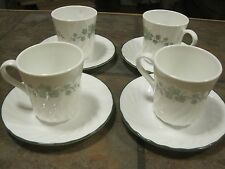 SET OF (4) CORELLE 'CALAWAY' CUPS / SAUCERS, WHITE SWIRL, GREEN IVY, EUC