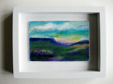 Original authentique miniature acrylique encadrée peinture north yorkshire moors nº 2