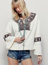 NWT FREE PEOPLE WOMEN SzM SANTA MARIA EMBROIDERY PULLOVER TOP IVORY/SCARLET COMB