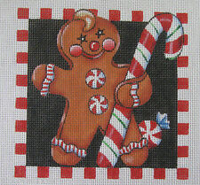 Handpainted Needlepoint Canvas Mary Engelbreit Gingerbread Man #ME-SQ08