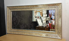 Large Crackle Champange Glass Mosaic Wall Mirror Double Frame Handmade 128X68cm