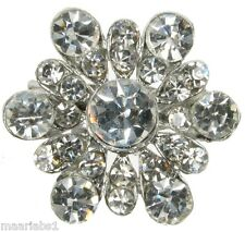 BROOCH SILVER FLOWER DIAMANTE RHINESTONE PIN BRIDAL WEDDING CAKE BOUQUET NEW UK