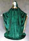 Green Gold Velvet Robe Wizard Cloak Wicca LARP LOTR Cosplay Costume Mardi Gras