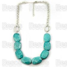"IMITATION FACETED TURQUOISE beads SILVER FASHION NECKLACE retro 23""LONG chain UK"