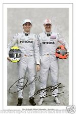 Michael Schumacher & Nico Rosber SIGNED 6x4 PHOTO F1 FORMULA ONE MERCEDES