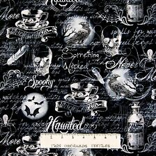 Halloween Fabric - Wicked Gothic Moon Raven Skull - Timeless Treasures YARD