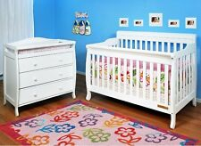 AFG Alice 4-in-1 Convertible Baby Crib Toddler & Grace 3 Drawer Changer - White