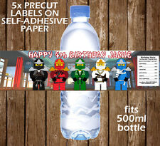 Ninjago Personalised Water Bottle Labels Children Birthday Party Favour Ideas