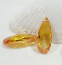 Briolette CZ Pendant Tear Drop Side Drilled Beads Faceted 18 MM Yellow Topaz (2)