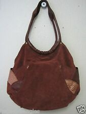 Vintage Lucky Brand Fortune Cookie Patchwork Brown Suede hobo bag *EUC*