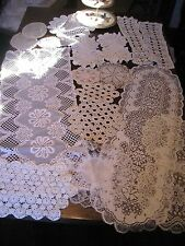 Lot of 18 CROCHET & LACE Antique/Vintage WHITE CREAM Table Mats Doilies Runners