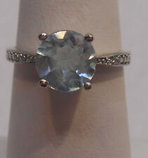 Estate~2.40 cts Aquamarine & Diamond Accents 925 Sterling Silver Ring Size 7