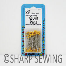 "COLLINS QUILTING PINS 1 3/4"" YELLOW PLASTIC HEAD 80 EACH #C100"