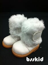"BJD Yo-SD 1/6 Dollfie 13"" Effner 12"" Kish Doll Shoes White Fur Boot"